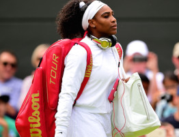 LONDON, ENGLAND - JUNE 29:  Serena Williams of the United States walks out for her Ladiesís Singles first round match against Margarita Gasparyan of Russia during day one of the Wimbledon Lawn Tennis Championships at the All England Lawn Tennis and Croquet Club on June 29, 2015 in London, England.  (Photo by Shaun Botterill/Getty Images)