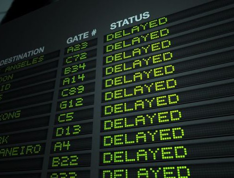 12222691 - airport flight information board - delayed